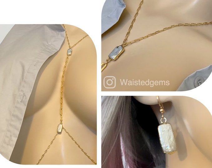 14k and Fresh Water Pearl Body Chain and Earring Set,Jewelry,Bikini Body Chain,Bikini Jewelry,Body Chain, Plus Size Body Chain,Gifts for her