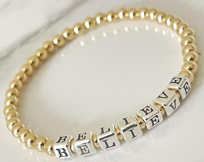 14k Beaded Name Bracelet,Custom Beaded Bracelet,Gold Name Bracelet,Gifts for her,Personalized gift,Gold Stretch Bracelet, Gold Ball Bracelet