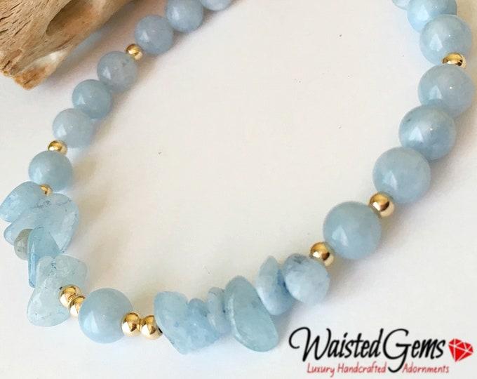 Fearless Aquamarine Gemstone Bracelet, March Waistbeads , Aquarius Birthday, Crystal Bracelet, Beaded Bracelet, Gift Ideas, Anklet zmw777