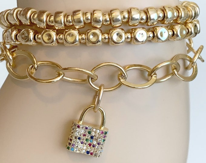 Gold Large Link Charm Bracelet, Bold Bracelet, Statement Jewelry for Women, Lock Jewelry, Gold Filled Bracelet
