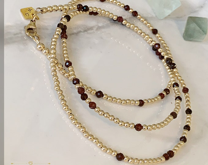 14k Gold and Garnet Waist Beads, African Waist Beads,14k Gold Belly Chain, Plus Size Waist Beads, Crystal Waist Beads, Waisted Gems, Custom