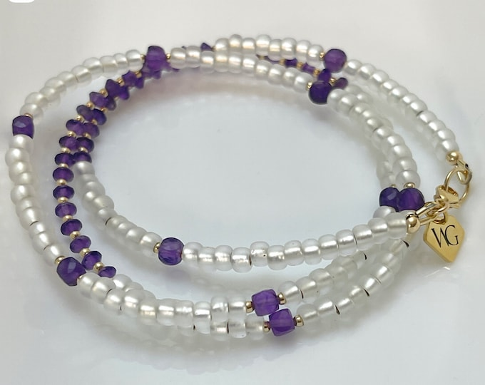 Inner Peace Waist bead / White Crystal Waist Beads / Purple / Amethyst / African Waist Beads / Gifts For Her / Plus Size / Gold /