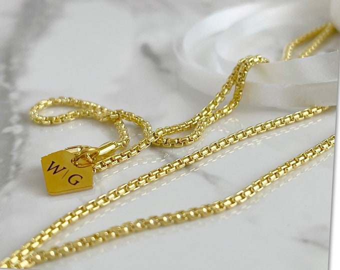 14k Gold Filled 1.8mm Rounded Venetian Reverse Box Chain 14k Gold Belly Chain, Waist bead, Waisted Gems, Gold Filled Waist Chain,