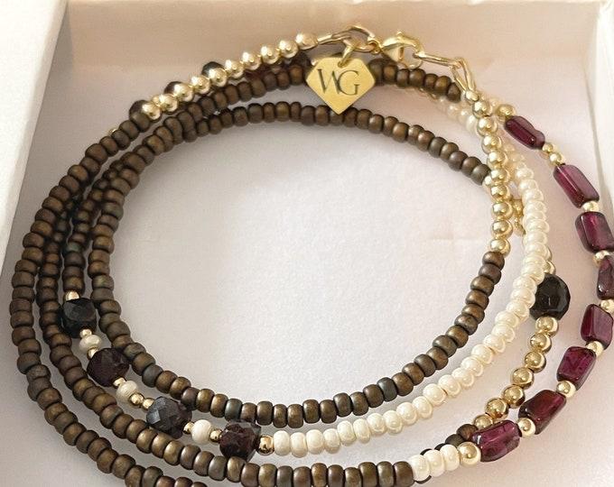 Garnet 14k Gold Waistbeads | Crystal Waistbeads | African Waist Beads | Beaded Belly Chain |