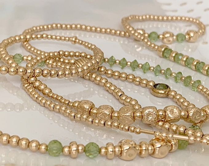 Luxury 14k Gold and Peridot Waist Bead Set, Wedding Gift, Gold Waist bead, African Waist Beads, Christmas Gift, Green Waist Beads, Sale