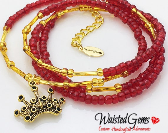 Love Queen waistbeads, belly chain, red and gold waist beads, outdoor fun, barefoot sandals, african waist beads  zmw01