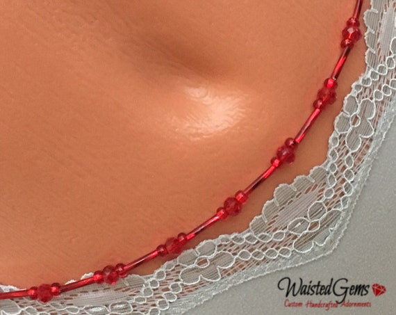 Lady in Red Waist Bead, Red Waist Beads, African Waistbeads, Gift For Her, Belly Chain, Summer Fun, Red Anklet