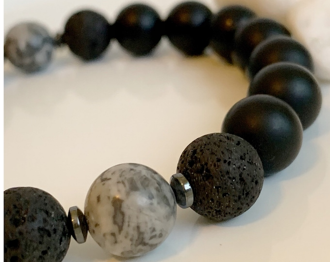 Men's Matte Black Onyx, Grey Picture Jasper 10mm Bead Bracelet , Men Bracelets, Gifts for him, Fathers Day Gift, Beaded Bracelet zmw0262