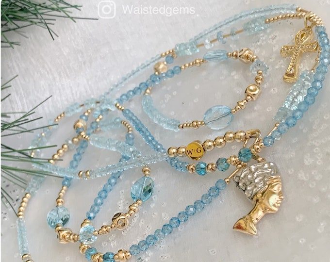 Loyalty Waist Beads, Blue Topaz Waist Beads, Crystal Waist Beads, March Birthday, Luxury Waist Beads, African, Blue Waist Beads, Christmas