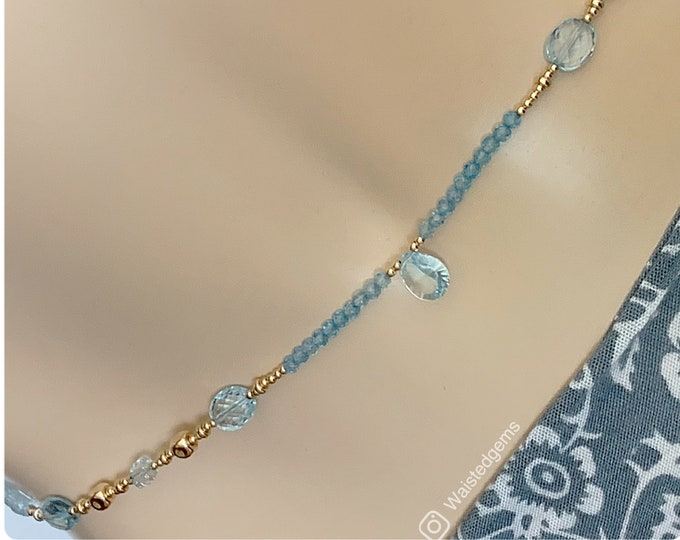 Progress Waist Beads, Blue Topaz Waist Beads, Crystal Waist Beads, March Birthday, Luxury Waist Beads, African, Blue Waist Beads, Plus size