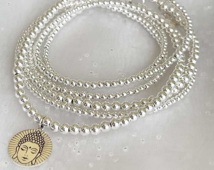 Sterling Silver Charm Waist Beads, African Waist Beads,925 Bead Necklace,Silver Belly Chain, gift for her, plus size waist beads,