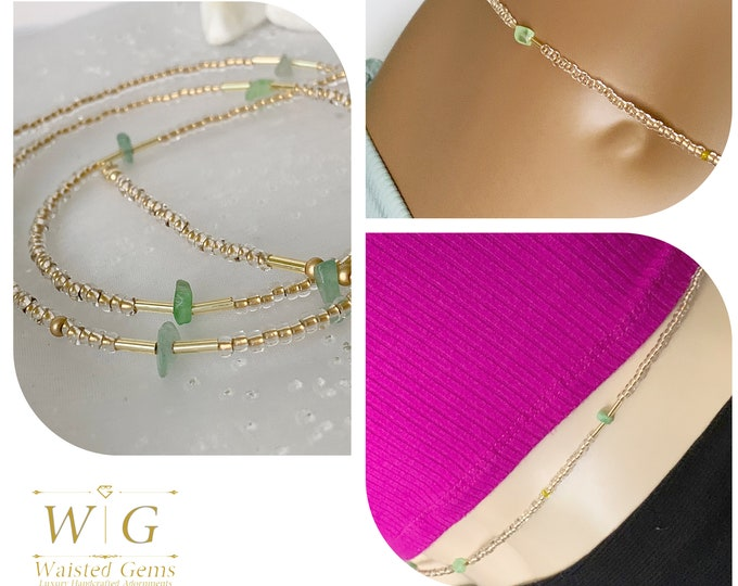 Prosperity ~  Waist Beads, Crystal Waist Beads, African Waist Beads, Green Waist Beads, Plus Size Waist Beads,Gold Waist Beads, Belly Chain