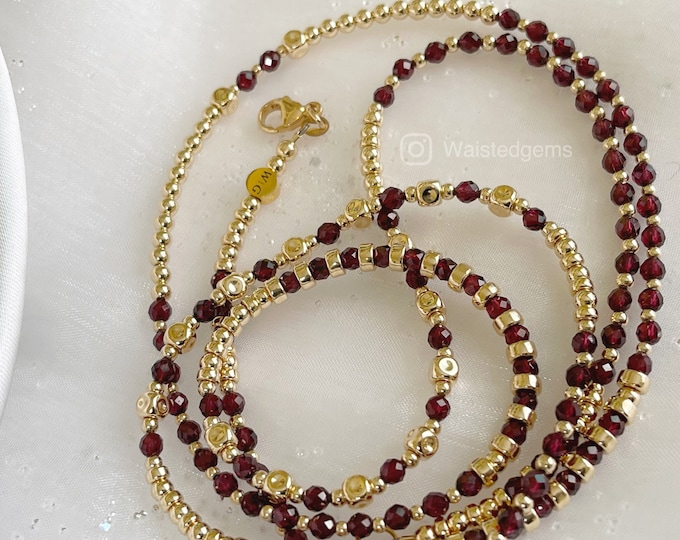 Luxury 14k Gold and Garnet Waist Bead, Gold Waist bead, African Waist Beads, Garnet Waist Beads, Sale, Waist Beads with Clasp