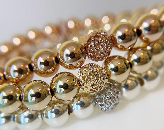 Filigree 14K Gold Beaded Bracelet, Beaded Bracelet Set, Stacking Bracelets, Stretch Bracelet, Jewelry, Silver Bracelet, Gifts for Her,