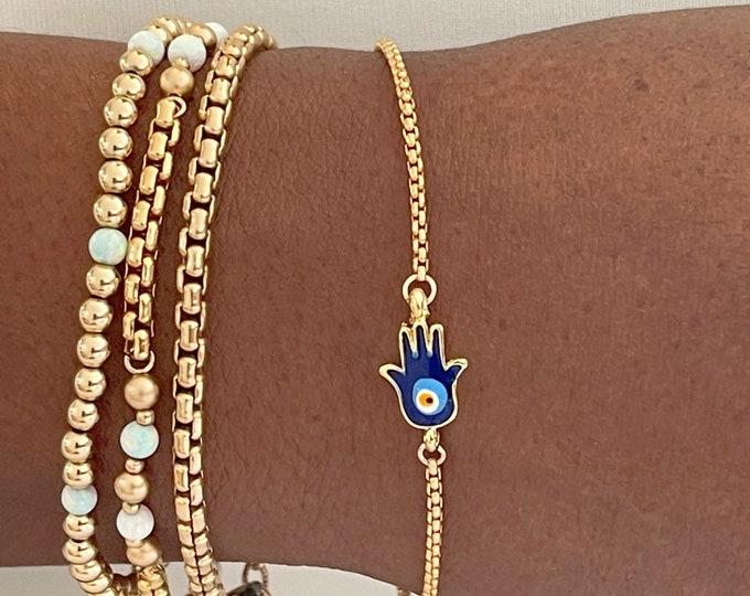 14k Gold 3.7mm Rounded Box Chain Bracelet | Venetian Reverse Box Chain Bracelet |  Gold Box Bracelet | Unisex Gift|
