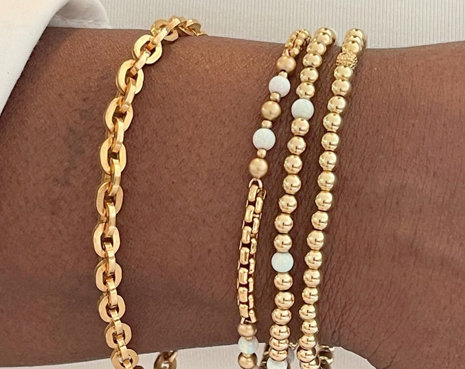 14k Large Box Chain Bracelets | Layering Chain | link Chain Bracelet | 14k Gold Filled Link Chain Bracelet | Status Bracelet | Gifts for Her