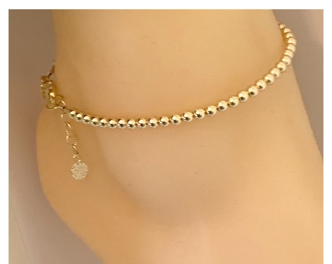 14k Gold Beaded Anklet | Gold Dainty Jewelry | Gold Anklet | Mothers Day Gifts | Gold Bead Ankle Bracelet | Jewelry Collection