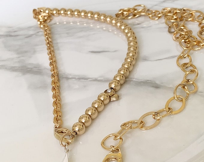 14k Custom Link and Beaded Necklace, Rounded Square Link Cable Chain, 6mm Beaded Necklace, Statement Jewelry for Women, Bold Necklace