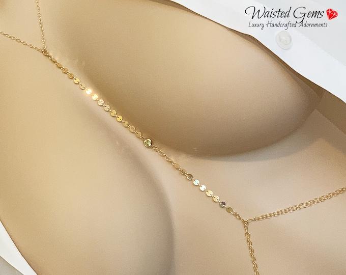 14k Body Chain, 14l Rose Gold Body Jewelry, Bikini Body Chain, Bikini Jewelry,Boho Body Chain, 14k Rose Gold Layering Body Chain, Back Chain