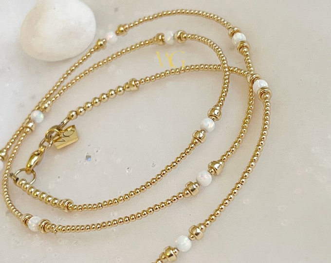 Natural Ethiopian Opal Gold Waist Bead, Luxury Waist Beads, Gold Waist Beads,October Birthstone,Gifts for Her, White Waist Bead, Waist Chain