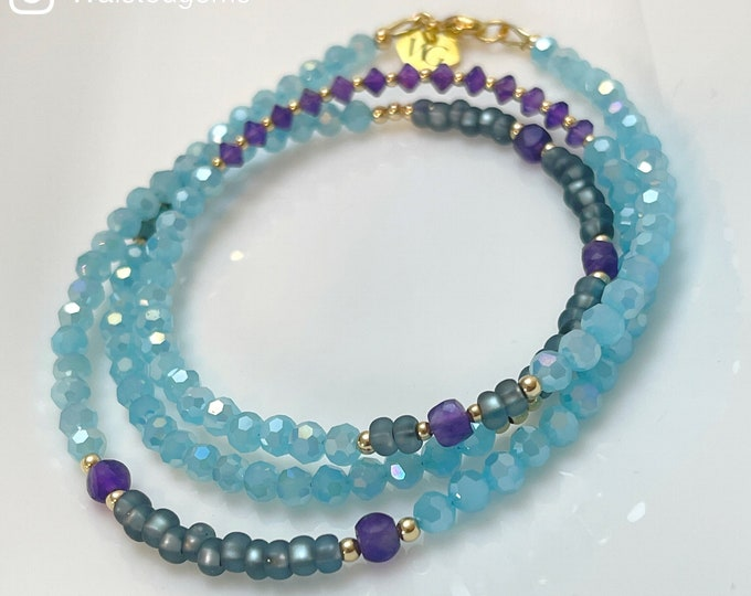 Hawaiian Breeze Waist beads / Turquoise Crystal Beads / Amethyst / Purple / African Waist Beads / Waist Beads with Clasp / Plus Size / Gift