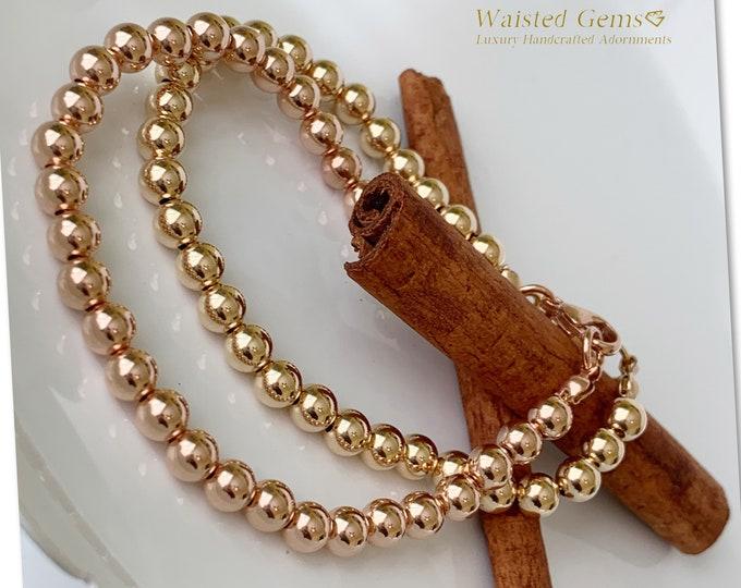14K Gold Filled Beaded Bracelet, Ball Bracelet, Stacking Bracelets, Beaded Bracelet with Lobster Claw Clasp, Rose Gold Bracelet