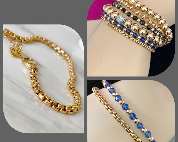 14k Gold Filled 3.7mm Rounded Venetian Reverse Box Chain Bracelet with lobster Claw Clasp, Layering Chain, Gold Bracelet, Charm Bracelet