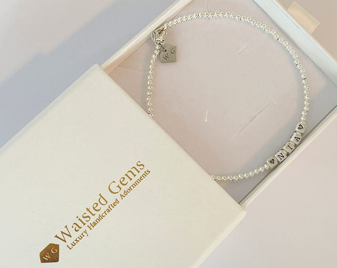 Sterling Silver Bead Name Anklet | Beaded Anklet | 925 Anklet | Name Bead Anklet Bracelet | Simple Ankle Bracelet