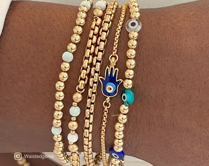 Gold Filled Evil Eye Bead Bracelet | Stacking Bracelet | Matching Jewelry Set | Stretch Bracelet | Water Proof Bracelet | Good Luck Bracelet