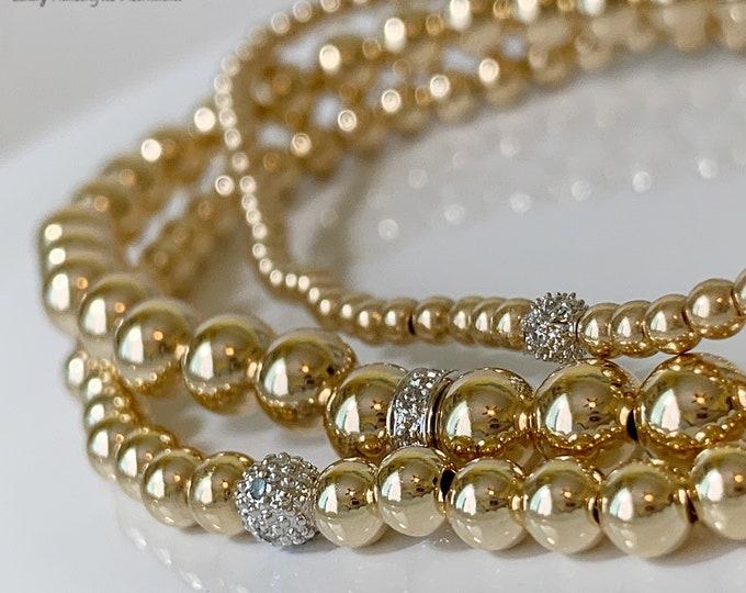 14K Solid Gold Diamond Beaded Bracelet, Heavy Weight Stacking Bracelets,Gold Beaded Bracelet Beaded Bracelet, Gold Beaded Bracelet for women