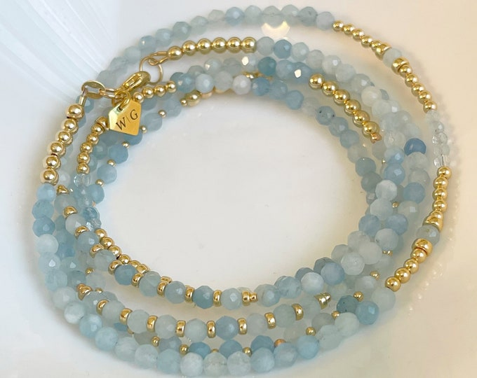 Fearless Aquamarine Gemstone Waist Beads, March Waistbeads , Aquarius Birthday Waistbeads, belly chain, Gift Ideas, Gemstone Waistbeads