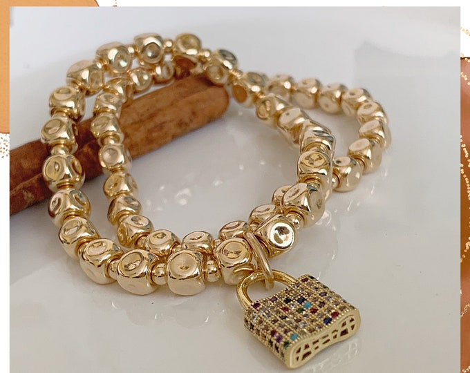 14k Square Beaded Bracelet, Stacking Bracelets, Stretch Bracelet, Gold Filled Ball Bracelet, Charm Bracelet, Jewelry for women,