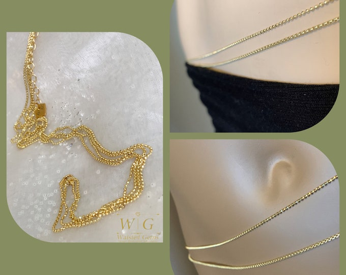 14k Solid Gold Double Strand Waist Chain, 14k Gold Waist Chain, Back Chain, 14k Belly Chain, Waist Chain for Women, Plus Size Waist Chain