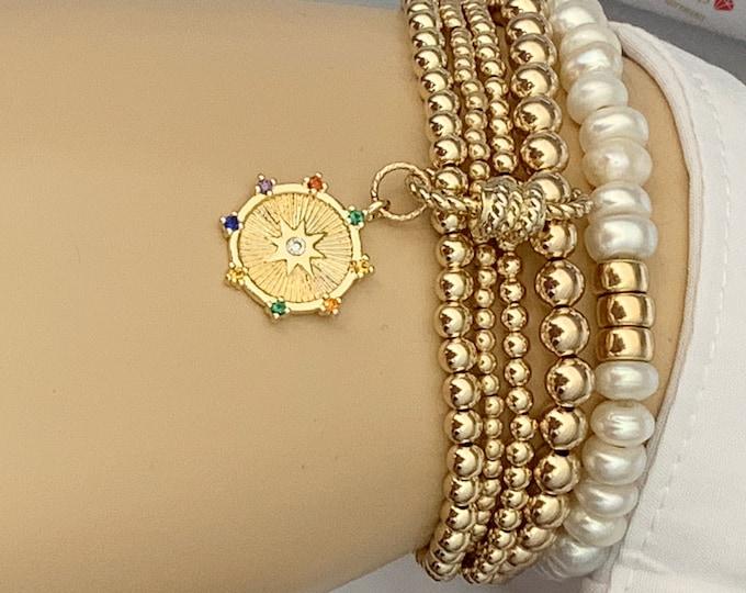 14k Beaded Bracelet Set, Stacking Bracelets with Medallion, Screw on Lock Bracelet, Starburst Charm Bracelet,Gifts for Her