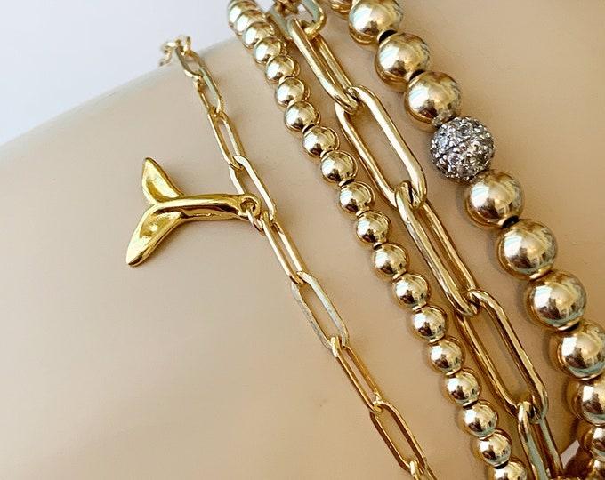 14k Sea Side Charm Bracelet, Link Chain Bracelet, Charm Bracelet, 14k Sea Charm Bracelet, Beach Bracelet, Toes in the sand Bracelet