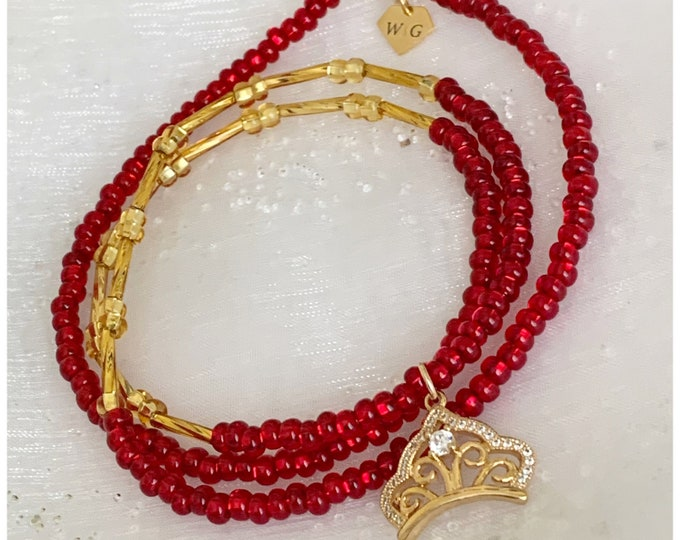 Love Queen waist beads, belly chain, red and gold waist beads, african waist beads, Gifts for her, valentines day gift for her  zmw01