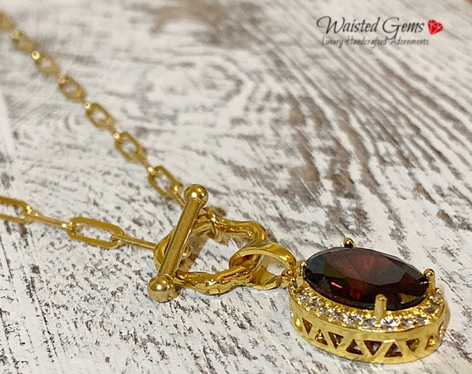 14k Garnet Necklace, Crystal Necklace, Carabiner Lock Chain Necklace, Milano link Chain, Small Link Chain, Personalize Necklace