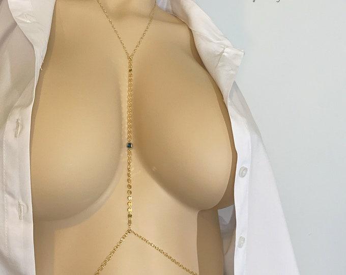 14k Body Chain | Sexy Body Jewelry | Bikini Body Chain | Diamond Halter Top |  Layering Bikini Jewelry | Cute Back Chain |