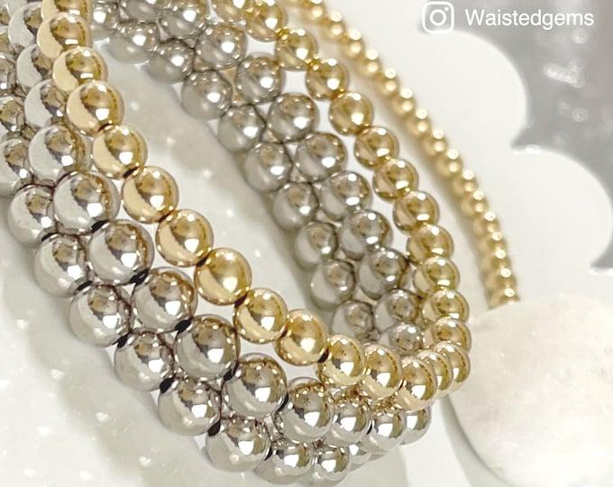 14k Gold Beaded Bracelet   Mother's Day Gift   Ball Bracelets   White Gold Bead Bracelet   Shiny Gold Bead Bracelet
