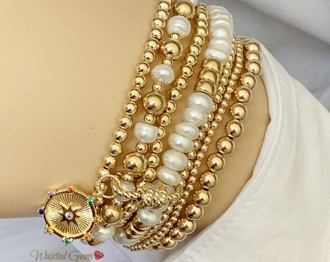 Choice of 14k Freshwater Pearl Beaded Bracelet w/ Starburst Charm, Beaded Bracelet,Stacking Bracelets, Stretch Bracelet, Pearl Bracelet