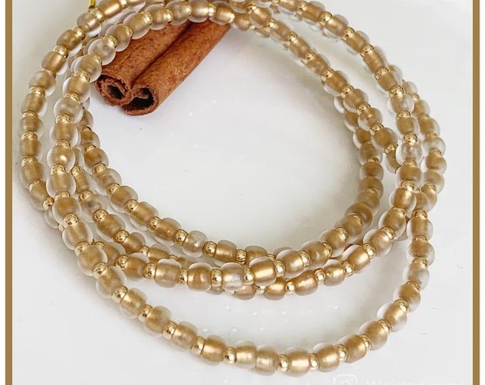 Sun Rise 14k Gold Waistbeads | Crystal Waistbeads | African Waist Beads | 14k Gold Bead | Plus Size | Gold Waist Beads | Christmas Gift