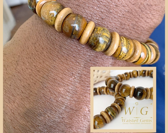 14mm Tigers Eye and Wood Men Bracelet, 12mm Men Beaded Bracelets, Gifts for him,Large Bracelets for men,Men Statement Bracelet,Wood Bracelet