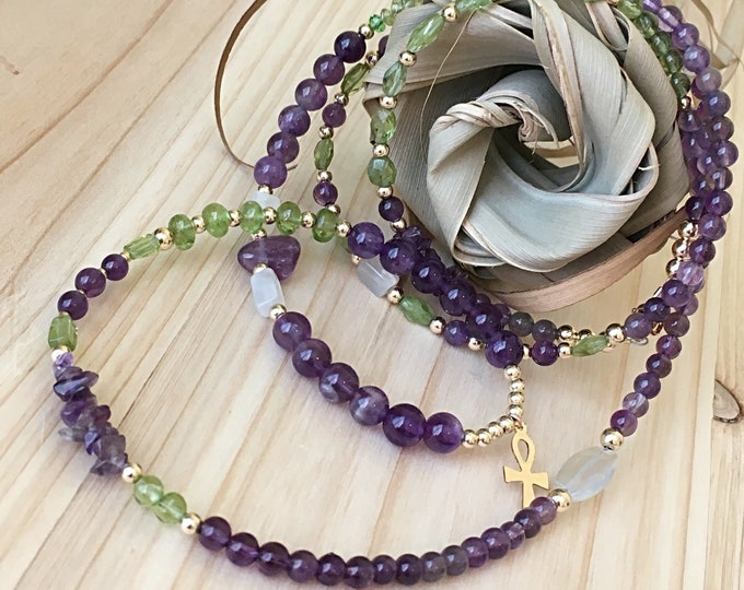14k Amethyst and Peridot Waist Beads Waistbeads , Aquarius Birthday Waistbeads, belly chain, Birthday Gift Ideas, Body Jewelry zmw7777