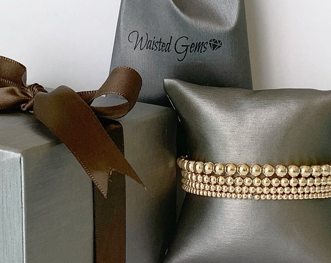 14K Gold Filled Beaded Bracelet, Stacking Bracelets,Rose Gold, 14k ball Bracelet, 3mm, 4mm, 5mm, 6mm Beaded Bracelet Gold Stretch Bracelet