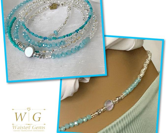 Turquoise Light Waist Beads, Waist beads, Waist Beads, Crystal Waist Beads, Silver Waist Beads, Natural African Waist Beads