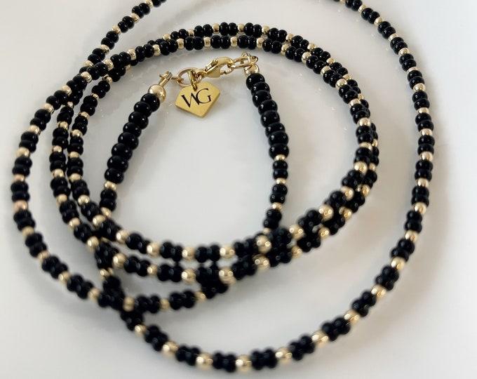 14k Gold Waist Beads | Gold Belly Chain | Waistbeads w/ clasp |  African Waist Beads | Dainty Belly Chain |  Black Waist Beads
