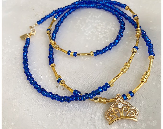 Royal Goddess Waist beads, Blue Waist beads, waist chain, body Jewelry, African Waist Beads, Gifts for her, Waist Bead with charms  zmw30.9
