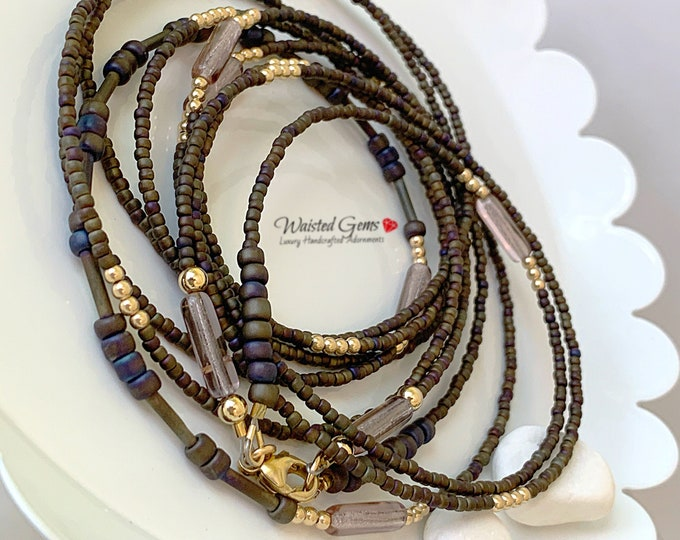 Gold Iris Double Strand Waist Bead Set, Waist Beads, WaistBeads, Belly Chain, African Waist Beads, Plus Size Waist Beads,