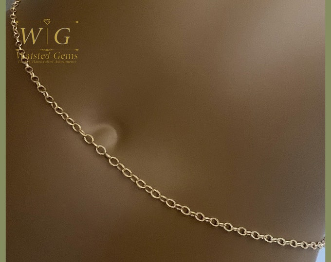14k Gold Textured Cable Waist Chain, 14k Gold Belly Chain, Waist bead, Waisted Gems, valentines day gift for her  zmw2311-93