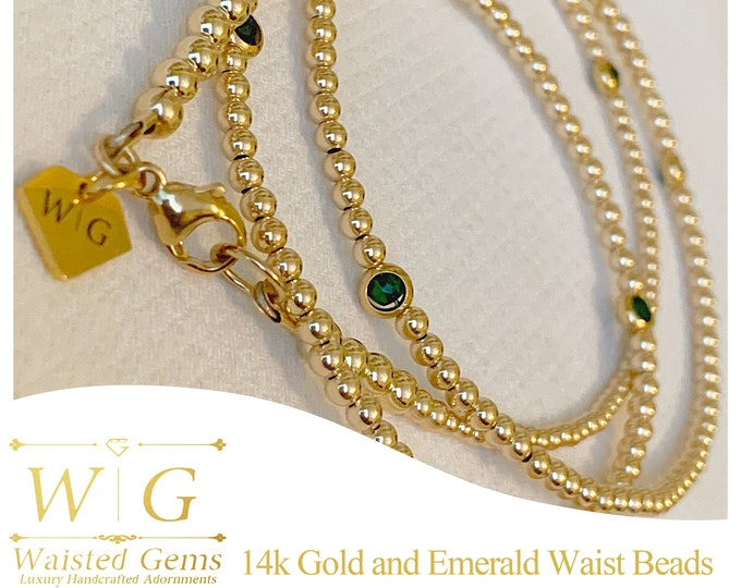 14k Solid Gold and Emerald Waist Beads, African Waist Beads,14k Gold Waist Beads, Plus Size Waist Beads, Crystal Waist Beads, Waisted Gems
